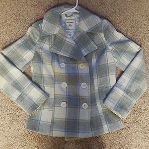 Plaid wool peacoat